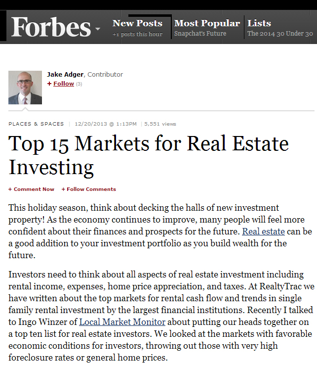 Top 15 Markets for Real Estate Investing includes Fort Myers real estate and Cape Coral investments